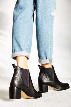 classic denim + black ankle booties