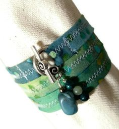 Fabric Wrap Bracelet with Stone Bead Dangles  by WildApplause, $14.95