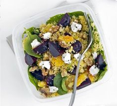 Beet, spinach & goat's cheese couscous. I want to try this with quinoa instead of couscous.