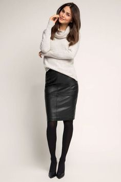 black pencil skirt High waisted black leather skirt and white sweater outfit. Source by wearmywear dress for work Mode Outfits, Fashion Outfits, Womens Fashion, Fashion Skirts, Stylish Outfits, Casual Outfits For Girls, Edgy Girls, Classy Outfits, Fashion Pants