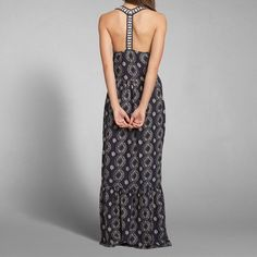 Womens Printed T-Back Maxi Dress | Lightweight and drapey with all-over vintage print, flowing skirt and printed straps with t back | Womens New Arrivals | Abercrombie.com