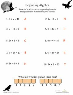 Kick-start spooky fun with our best Halloween math printables for fifth grade. From decimals and fractions to multiplication, your child won't mind practicing math basics with these spooktacular worksheets. Basic Algebra Worksheets, Algebra Activities, Maths Algebra, Teaching Math, 8th Grade Math Worksheets, Seasons Worksheets, Math Math, Free Worksheets, Halloween Math Worksheets