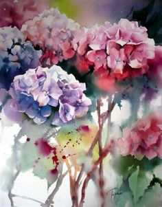 Hortensias, Hydrangeas by Jean-Claude Papeix, France Art Floral, Watercolor Flowers, Watercolor Art, Watercolour Paintings, Art Paintings, Watercolor Techniques, Love Art, Painting Inspiration, Inspiration Cards