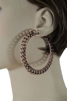 Women Bronze Round Hoop Hook Earring Geometric Metal Chain Links Fashion Hip Hop