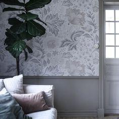 Ava-Elvira by Sandberg - Grey - Mural : Wallpaper Direct Plain Wallpaper, Wallpaper Direct, Kids Wallpaper, Wall Wallpaper, Dado Rail, Sr1, Front Door Decor, Beautiful Interiors, My Dream Home
