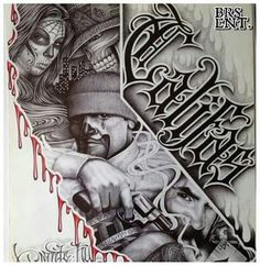 This beautiful variation from traditional Latino art has the traditional form, style, and content. And it also has a new element, the collage is surrounded, bordered; by the central subject. Gangster Drawings, Gangster Tattoos, Arte Cholo, Cholo Art, Chicano Art Tattoos, Chicano Drawings, Tattoo Design Drawings, Tattoo Sketches, Tattoo Designs