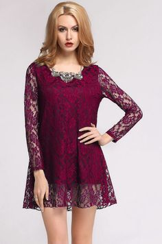 Stylish Floral Lace Long Sleeve Casual Mini Dress