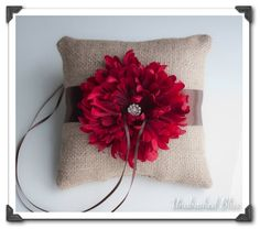 Wedding Ring Pillow - Burlap with Fall Deep Red Mum Accented with Rhinestone Center