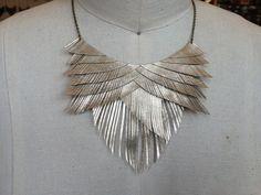 Gold Metallic Leather Fringe Necklace by HaKNiK on Etsy