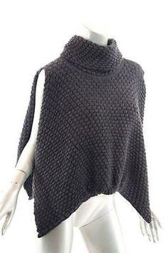 SARAH PACINI Charcoal Nylon Alpaca Blend T-neck Crop Sweater Cape  -FABULOUS- O S 3ca5e5f82