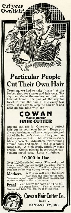Old Design Shop ~ Cowan hair cutter vintage ad