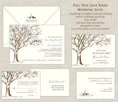 Love Birds Cherry Blossom Tree Wedding Invitation Suite. $280.00, via Etsy.