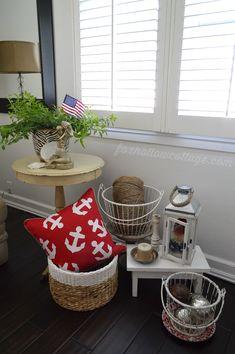 Coastal Cottage: Nautical Summer Living Room  | Anchor Home Decor Pillow, Baskets, Lantern #homegoodshappy