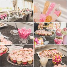 Food and dessert display for a Pink, Gold, and White Bridal Shower. DIY candy bar. Nicole Klym Photography.