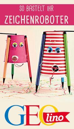 Selbst zeichnen war gestern! Jetzt übernehmen das die Zeichenroboter! #roboter #zeichnen #basteln #kunst #bastelnmitkindern #technik #experiment