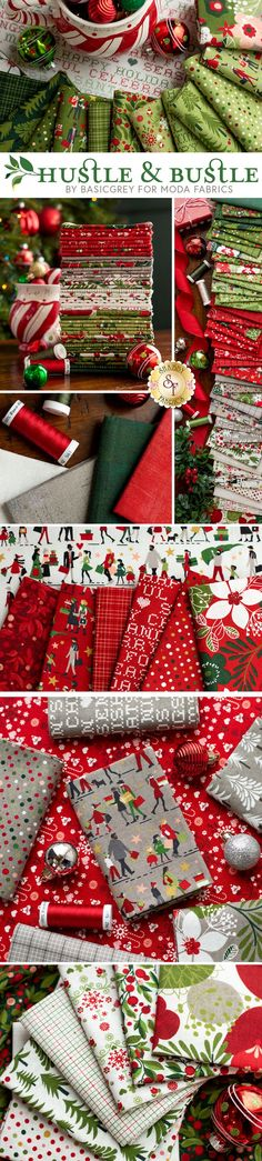 Hustle and Bustle is a fun holiday collection by BasicGrey for Moda Fabrics. Shop the available precuts, yardage, and kits at www.shabbyfabrics.com for all your Christmas quilting projects!