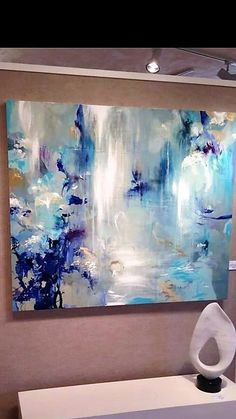 I feel like I'm sitting under a waterfall in this painting!loving the use of colours and texture in this one - calming and natural. Contemporary Abstract Art, Abstract Wall Art, Modern Art, Abstract Pictures, Colorful Paintings, Art Paintings, Painting Art, Art Techniques, Abstract Expressionism