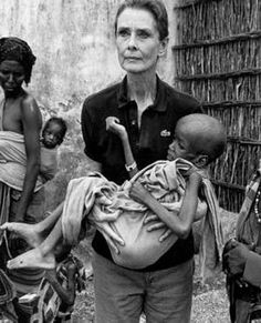 """In March,1988, Audrey began her work as an International Goodwill Ambassador for UNICEF by visiting the poorest country in the world--Ethiopia. In September 1992, four months before she died, Hepburn went to Somalia (this photo).  Hepburn called it """"apocalyptic"""" and said, """"I walked into a nightmare."""
