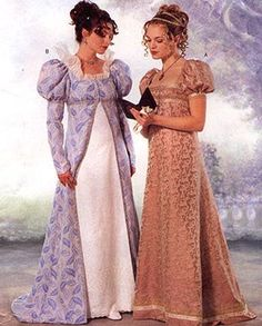 Colorful Regency gowns with Empire waists. Butterick, #6630.