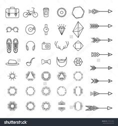 Set of hipster icons. Arrows and sunburst. Geometric elements