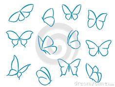 Las siluetas de las mariposas para los símbolos, los iconos y los tatuajes diseñan