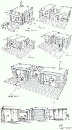 Modular Home Additions in rustic style >> The One house is a compact house design based on the principle of Legos – just add pieces to build on the structure. Each cottage-chic module measures and is prefabricated using local Swedish materials in a Container Architecture, Container Buildings, Container Home Designs, Container Van House, Rustic Cottage, Cottage Style, Cottage Chic, Rustic Coffee Shop, Coffee Shops