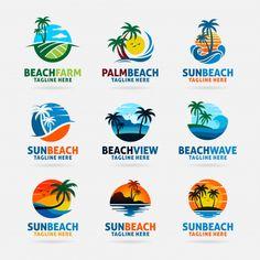 Collection of beach logo design Premium Vector Modern Logo Design, Graphic Design Typography, Elegant Business Cards, Business Card Design, Logo Design Template, Logo Templates, Turismo Logo, Logo Montagne, Logo Voyage