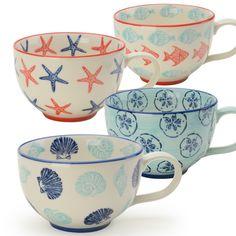Coastal Collection Set of 4 Assorted Jumbo Cups 20oz by Signature Housewares #SignatureHousewares