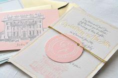 Oh So Beautiful Paper: Calligraphy Inspiration: Julie Song Ink Carton Invitation, Invitation Paper, Invitation Design, Invitation Ideas, Wedding Stationary, Wedding Invitations, Vintage Invitations, Parisian Wedding, Invitations