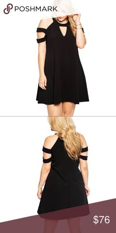 Cutout Keyhole Cold Shoulder Trapeze Dress Plus Sexy and comfortable! This dress can easily go from everyday to the club. Flattering a line trapeze cut, cold shoulder cut out style with a keyhole design in the front.   Sizes XL/1X and XXL/2X in stock. 3X and 4X available to order.  ❌ Sorry, no trades. fairlygirly Dresses Mini