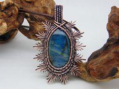 Blue Labradorite Pendant - Wire Wrapped Pendant - Filigree Jewellery - Sunburst Necklce - Copper Anniversary - Filigree Pendant