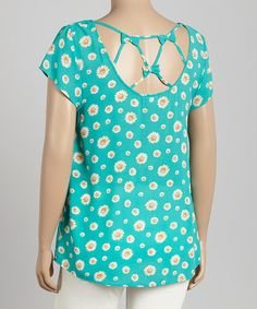 Look what I found on #zulily! Jade Daisy Bow Scoop Neck Top - Plus by Blu Pepper #zulilyfinds
