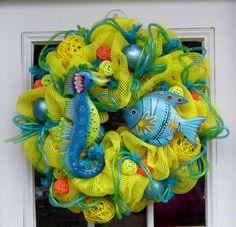 Blue Under The Sea Summer Mesh Wreath wreath idea, deco mesh wreaths, summer wreath