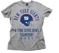 55eb94c7a NFL Multiple Superbowl Champions Tee Shirt New York Giants Grey (X-Large)