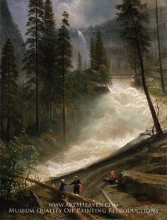Nevada Falls, Yosemite by Albert Bierstadt. Museum Quality Oil Painting Reproductions On Canvas.