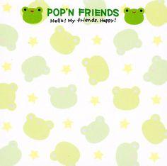 Free Notes: Pop'n Friends  #free #printables #cute #kawaii #asian #stationary #frog #memo