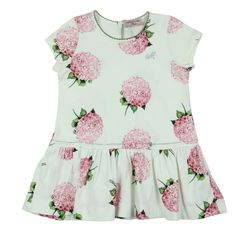 Monnalisa Girl's White Dress with Pink Floral Print. Available now at www.chocolateclothing.co.uk #childrenswear #minifashion #Monnalisa #chocolateclothing