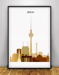 Berlin Skyline Poster, Berlin Wall Art Print, Berlin Cityscape Home Decoration…