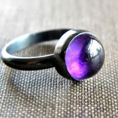 Amethyst Ring, February Birthstone Grape Purple Amethyst Oxidized Sterling Silver Ring - Size 5.25 - Infusion