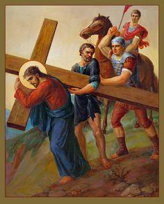 Via Dolorosa 5. Stations Of The Cross EL CIRENEO ES OBLIGADO A CARGAR LA CRUZ, CON JESÚS