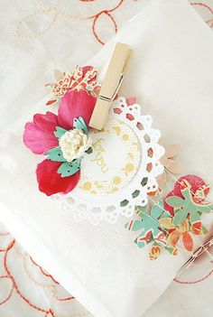 floral paper garland wrapping