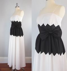 Vintage 70s Prom Dress Black and White Long by archetypevintage