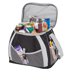 The 21 liter cooler bag holds 24 12 oz. cans, has a PEVA lining, carry handle, an adjustable shoulder strap and mesh pockets. Promotional Clothing, Promotional Bags, Picnic Bag, Outdoor Gifts, Work Bags, Gadget Gifts, Personalized Products, Corporate Gifts, Diaper Bag