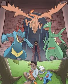 COMMISSION: Then and Now by mark331.deviantart.com on @DeviantArt (Feraligatr, Mega Charizard Y, Sceptile, Treecko, Charmander, Totodile)
