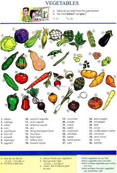 41 - VEGETABLES - Pictures dictionary - English Study, explanations, free exercises, speaking, listening, grammar lessons, reading, writing, vocabulary, dictionary and teaching materials