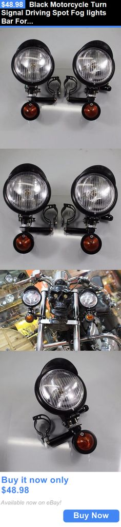 motorcycle parts: Black Motorcycle Turn Signal Driving Spot Fog Lights Bar For Harley Honda Yamaha BUY IT NOW ONLY: $48.98