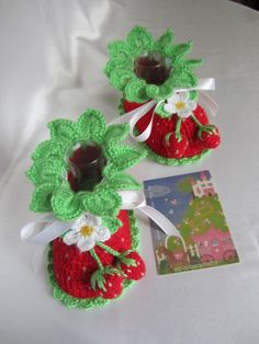 Crochet Baby Booties Red Strawberry Booties Flower