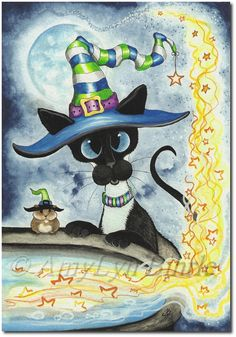 Siamese Cat Halloween Hamster Witch Cauldron - Art Prints ACEOs by Bihrle Chat Halloween, Halloween Magic, Halloween Witches, Siamese Cats, Cats And Kittens, Gatos Cats, Funny Cat Pictures, Cat Drawing, Art Plastique