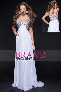 2015 V Neck Prom Dresses A Line Beaded Bodice Sweep Train Chiffon USD 149.99 BPP353XX5L - BrandPromDresses.com for mobile