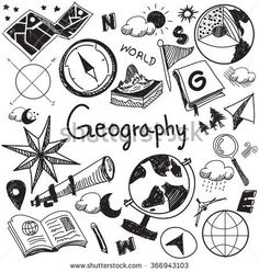 Geography And Geology Education Subject Handwriting Doodle Icon Of Earth Explora., EDUCATİON, Geography And Geology Education Subject Handwriting Doodle Icon Of Earth Exploration And Map Design Sign And Symbol In Isolated Background Paper Used . Notebook Covers, Binder Covers, Doodle Icon, Doodle Art, Kalender Design, School Notebooks, Sketch Notes, School Subjects, Map Design
